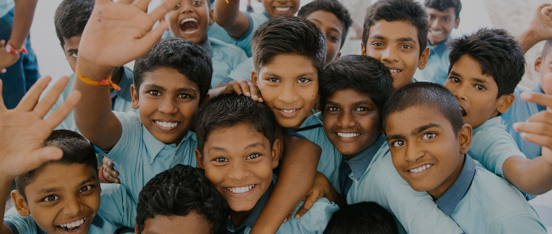 group of kids smiling together